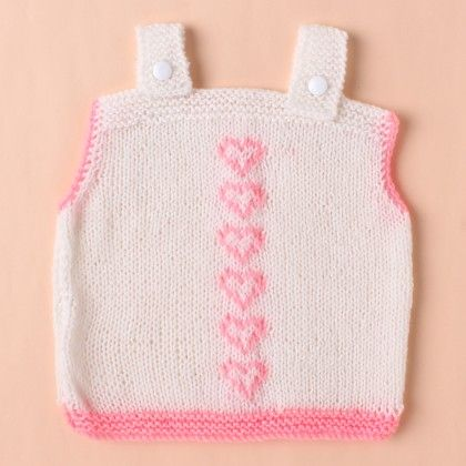 White Vest With Pink Hearts - Knitting Nani