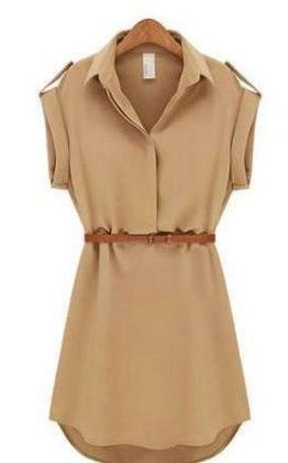 Women Shirt Beige Dress - Dells World