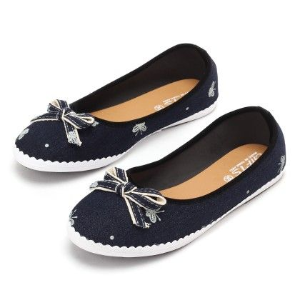 Belle Shoes Blue With Lace Bow - Gift Shoes