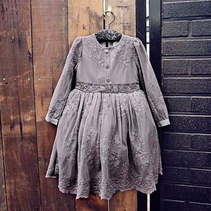 Grey Fully Embroidered Fleece Dress - Petite Kids
