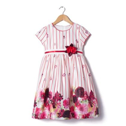 Red Floral Print Dress - Party Princess