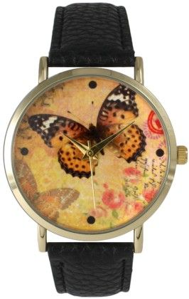 Leather Strap Band Watch With Butterfly Face Black - Vernier Watches