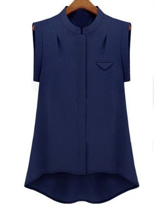 Navy Stand Collar High Low Chiffon Blouse - She In