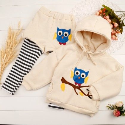 Cute Owl Print Hoodie & Shorts With Attached Leggings - Cream - Mellow