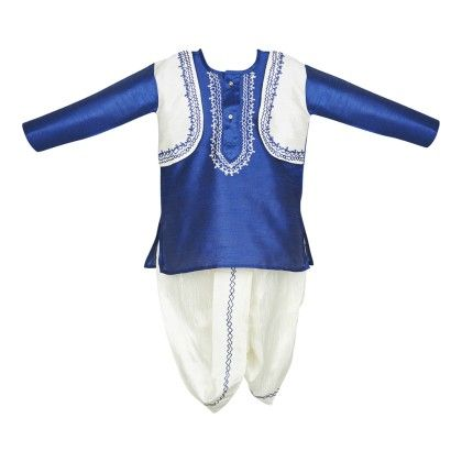 Kurta Dhoti Jacket Set - Blue And White - BownBee