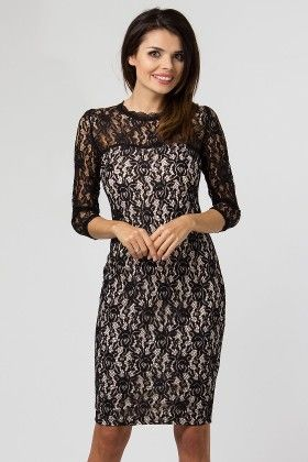 Mesh Lace Evening Dress Black - Depare