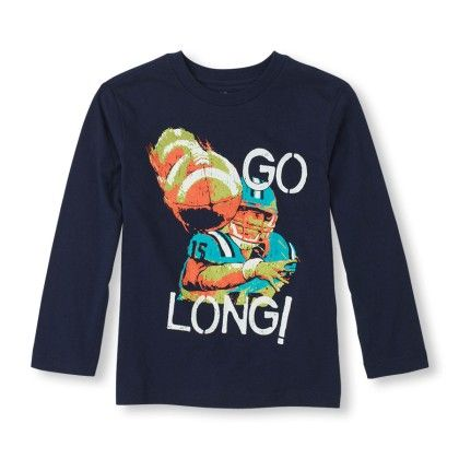 Long Sleeve 'go Long ' Football Graphic Tee - The Children's Place