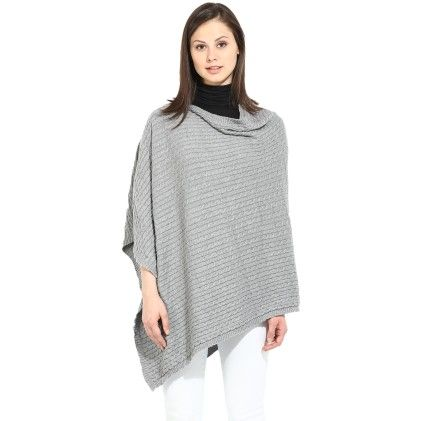 Alice - 100% Combed Cotton Soft Grey Melange  Poncho Top - Pluchi
