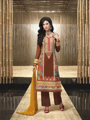 Touch Trends Brown Faux Georgette Dress Material - Touch Trends Ethnic