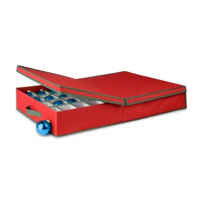 Adjustable Ornament Storage Organizer- Red & Pine Green - Honey Can Do