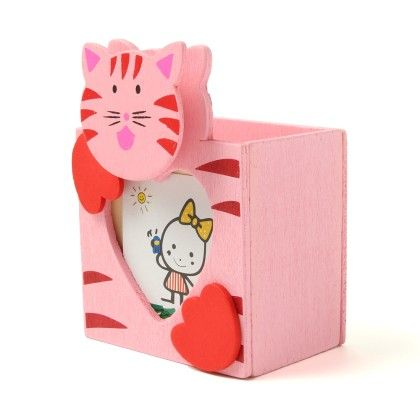 Wooden Penstand Cat With Clip And Photo Frame - Diya