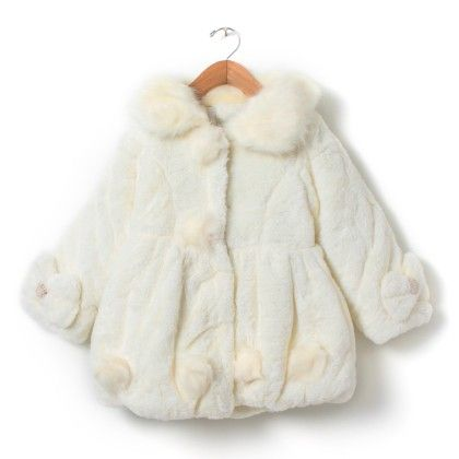 Girls White Fur Quilted Jacket With Pom Poms - Madcute