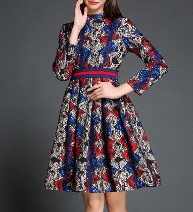 High Neck Floral Dress Blue - Oomph