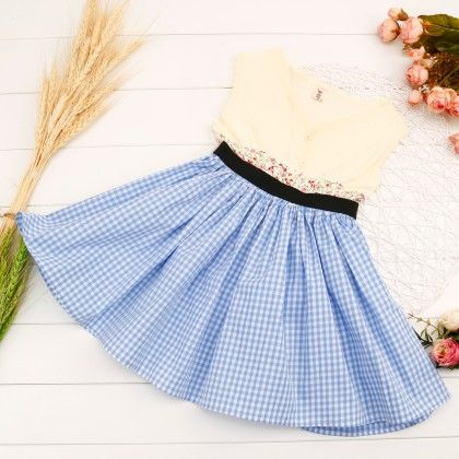 Blue Checks Print Casual Dress - Popsicle Kisses
