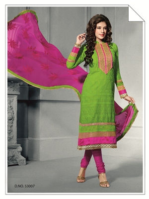 Touch Trends Green Chanderi  Silk Dress Material-1 - Touch Trends Ethnic