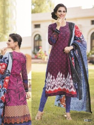 Cotton Printed Dark Shade Dress Material - Fashion Fiesta