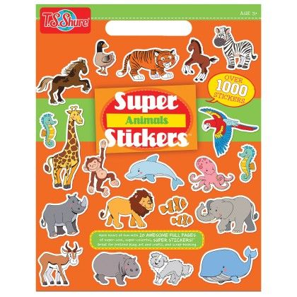 "Animals Super Sticker Book (10 Pages, 1000+ Stickers) - 11"" X 17"" - TS Shure"