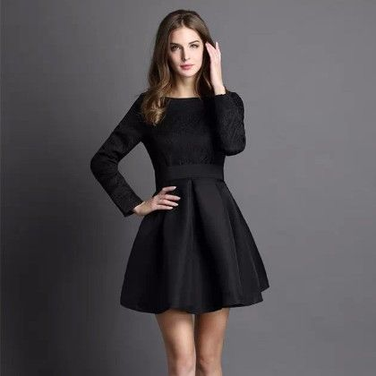 Jacquard Black Short Dress - Oomph