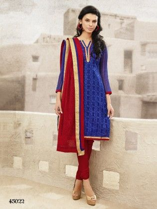 Touch Trends Blue Chanderi Dress Material - Touch Trends Ethnic