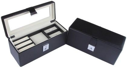 Jewellery-accessories Box With Mirror And 1 Clasp Lock  - Black With Caramel Cream - Uberlyfe