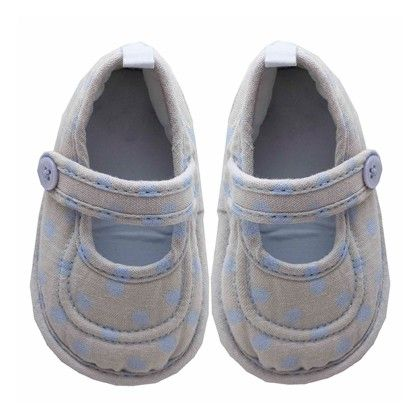 Clara Baby Shoes Lt Blue-grey Dot - Chateau De Sable