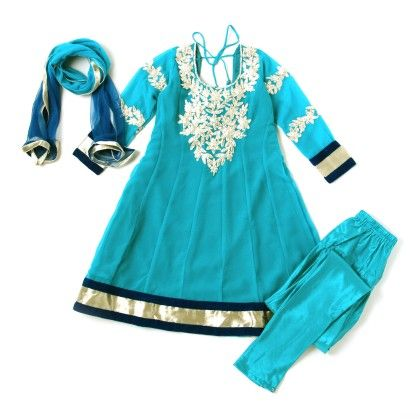 Blue Georgette Anarkali Blue,dark Blue,light Gold - Sanya Dresses