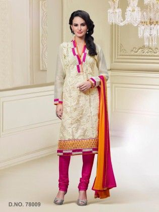 Touch Trends Cream Art Silk Dress Material - Touch Trends Ethnic