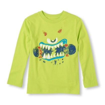 Long Sleeve Scribble Face Skateboard Graphic Tee - The Children's Place