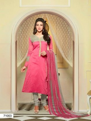 Touch Trends Pink Chanderi Silk Dress Material - Touch Trends Ethnic