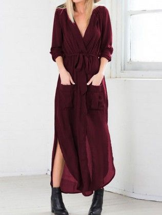 Red Deep V Neck Self-tie Pockets Chiffon Dress - She In