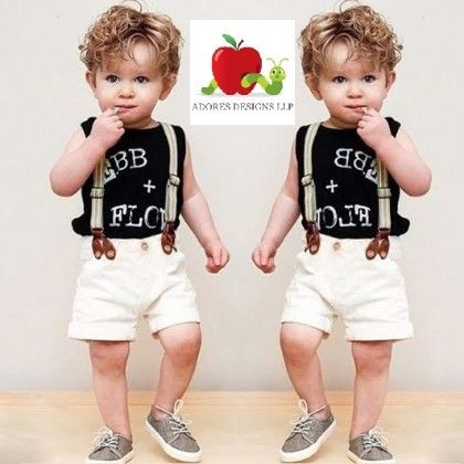 Letter Printed T-shirt & Suspenders Shorts - Adores
