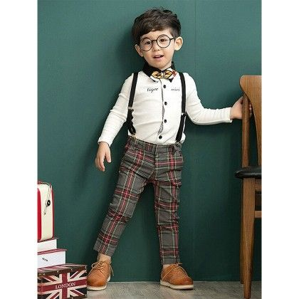 White Shirt And Checkered Pant With Tie - Lil Mantra