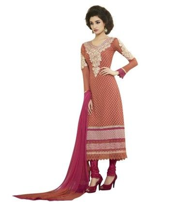 Touch Trends Peach Pure Georgette Dress Material - Touch Trends Ethnic