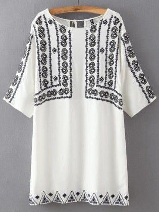 Round Neck Embroidered Lace Up Dress - She In