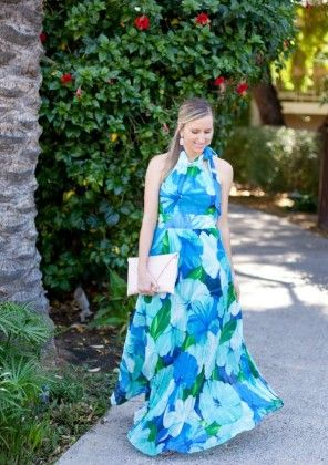 Flower Print Long Dress - Drape In Vogue