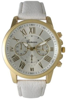 Leather Band Watch With Roman Numbers-white - Vernier Watches