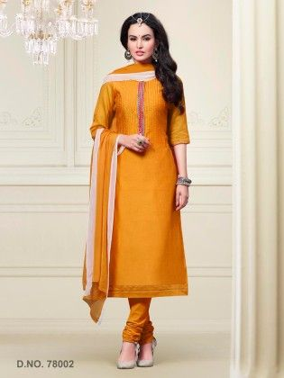 Touch Trends Yellow Chanderi Silk Dress Material - Touch Trends Ethnic