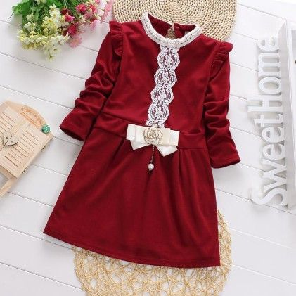 Elegant Red Dress With Bow And Lace Work - Maisie