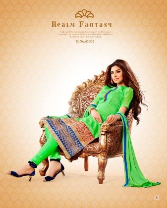Green Chanderi Cotton Dress Material - Touch Trends Ethnic