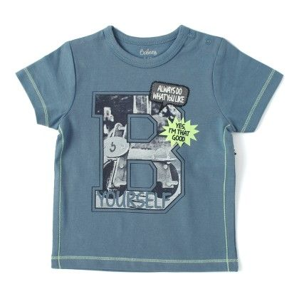 Short Sleeve Printed T-shirt - Blue - Babeez