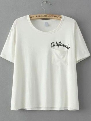 White Short Sleeve Letters Print Pocket T-shirt - She In