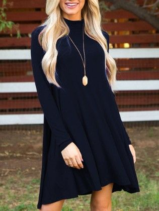 Stand Collar Long Sleeve Loose Dress Navy - She In