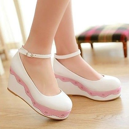 White Curved Up Easy Wedges - URB-N-ANGELS