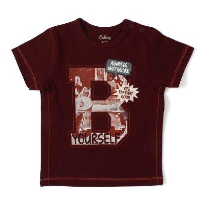 Short Sleeve Printed T-shirt - Maroon - Babeez