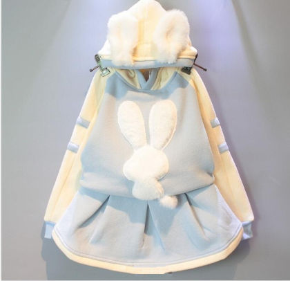 Cute Bunny Applique Hoody & Skirt Set - Blue - Mellow