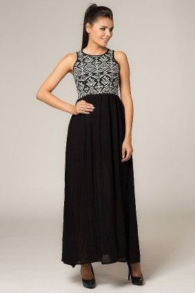 Printed Yoke Maxi Dress Black - Depare