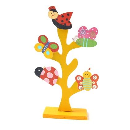 Wooden Family Tree With Clips Yellow - Diya