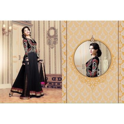 Black Gown Effect Anarkali Semi Stiched - Trendy & Style