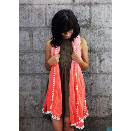 Coral Ombre And Pom-pom Scarf - Pigtails And Ponys