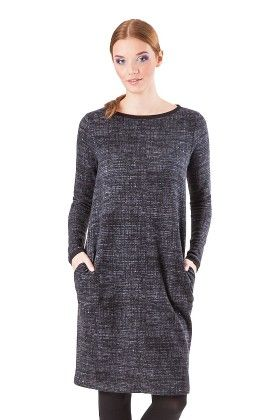 Loose Fit Day Dress With Pockets Grey - Click Fashion
